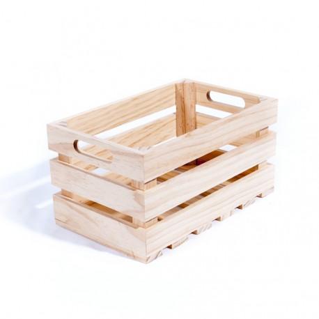 Cagette en bois brut 27x17x14